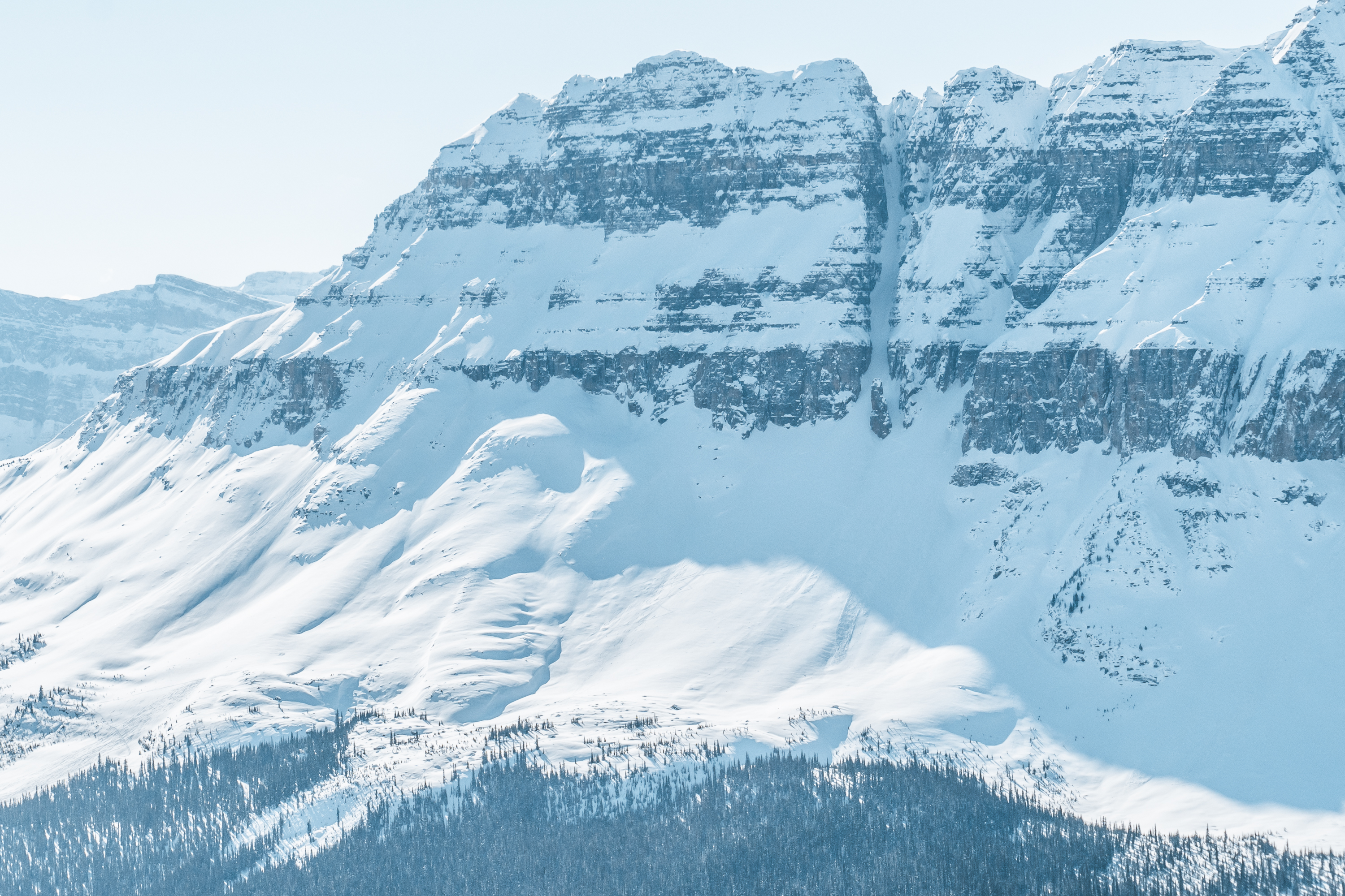 The grand daddy couloir from Dolomite Shoulder on the icefields parkway
