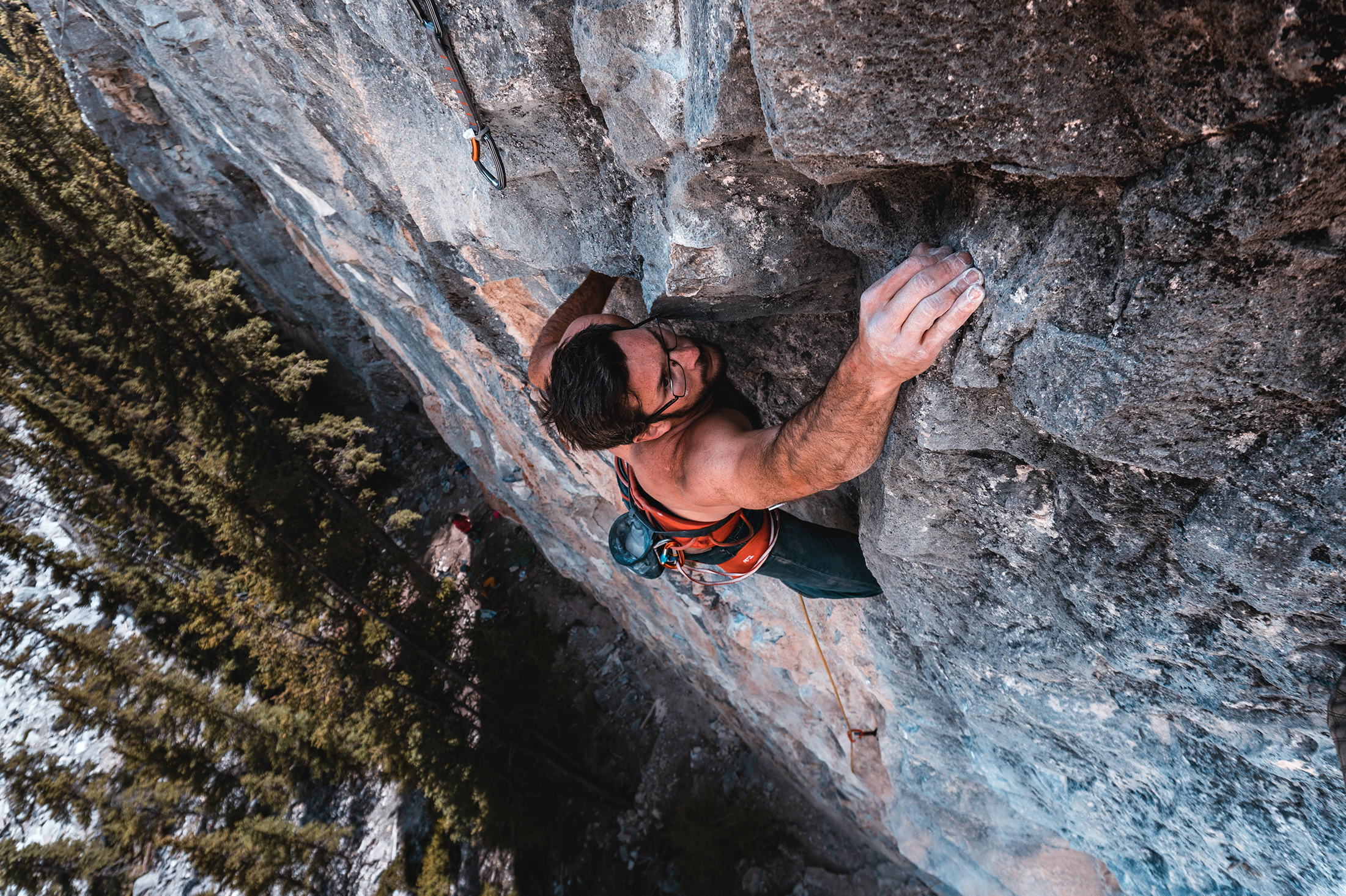 "Pete sending ""The Diamond"" 5.12b in Echo Canyon"