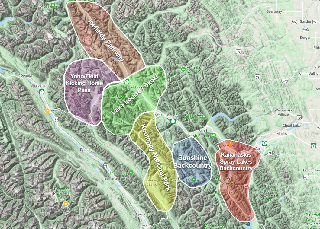 Canadian Rockies Backcountry ski touring overview map